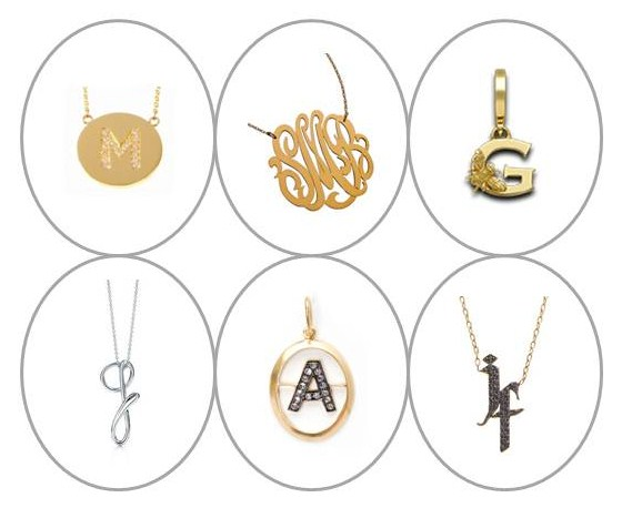 initial pendants, Jennifer Meyer, Jennifer Zeuner, Jennifer Fisher, Annoushka, Theo Fennel, Elsa Peretti