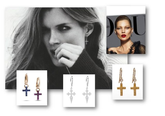 Silvia Taveira, jewelry trend, cross earrings, gold