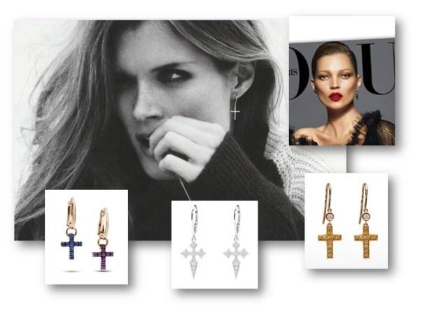 Silvia Taveira, jewelry trend, cross earrings, gold