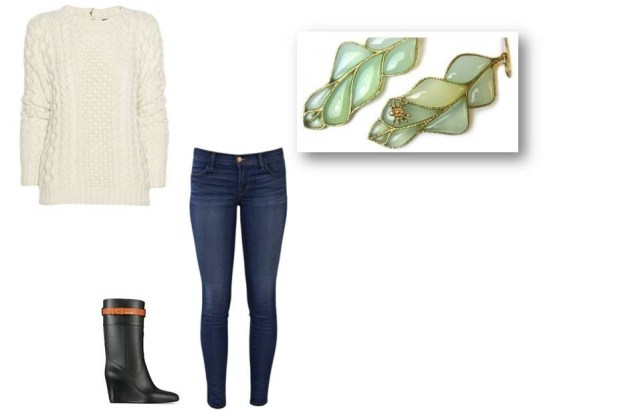 Fall trends, Weekend look, cable knit, leaf earrings