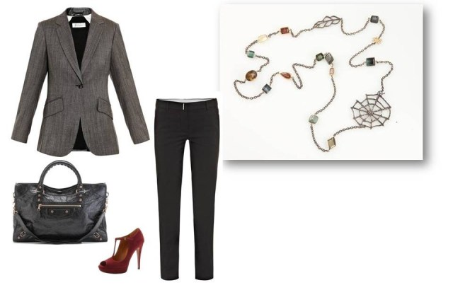 Fall trends, work wear, spider, leaf necklace, jewelry
